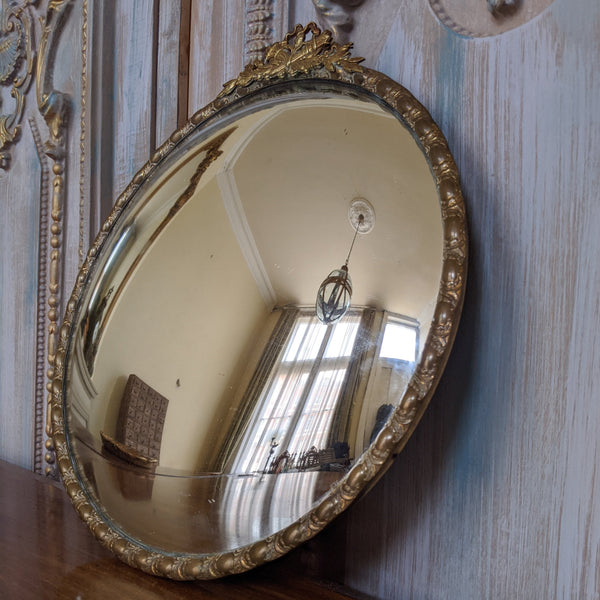 CONVEX Round Gold Gilt French Louis Vintage Ornate Brass Metal Wall Mirror