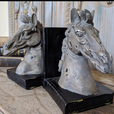 New Grey & Black HORSE Head Vintage Style Ornate Shabby Chic Rustic Shelf Tidy BookEnds Book Stop