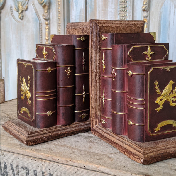 New Vintage Style Ornate BOOKS Shabby Chic Rustic Shelf Tidy Bookends Book Stop