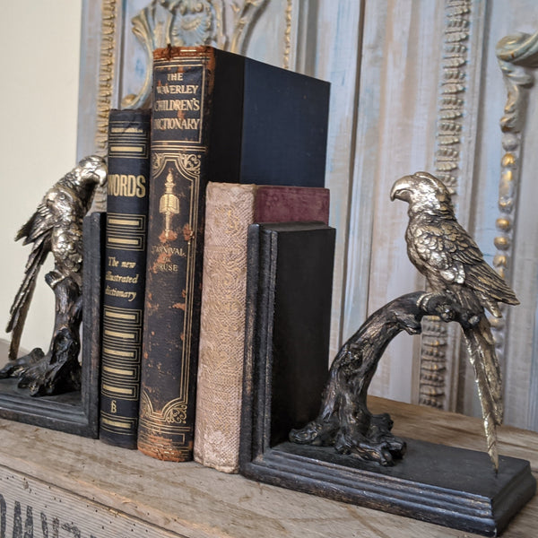 New Vintage Style Ornate Birds Shabby Chic Rustic Shelf Tidy Bookends Book Stop