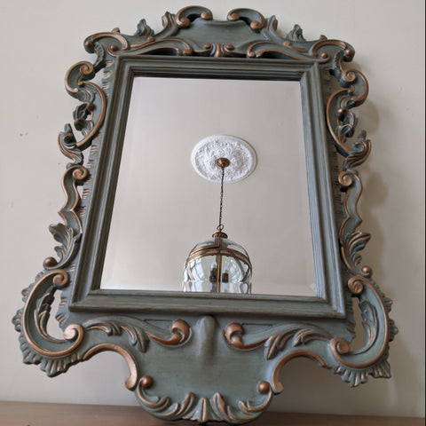 Vintage Mahogany Shabby Chic French Louis Sage GREEN Painted Carved Wall Bevel Mirror