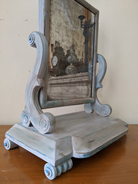 Antique Victorian Mahogany GREY Shabby Chic French Louis Freestanding SWIVEL Dressing Table Overmantel Mirror