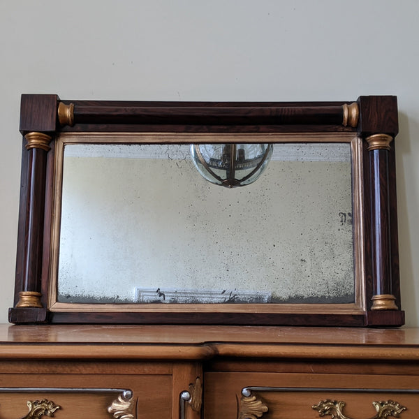 Antique REGENCY Rosewood Gold Ornate OVERMANTEL Wide Wall Wood Frame Mirror