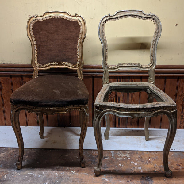 Before Photos of Antique FRENCH Louis Shabby Chic GOLD & Dusky Pink Carved Hall Boudoir Parlour Dining Chair