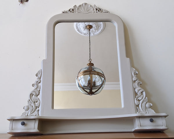 New CREAM Shabby Chic Large French Louis Vintage Freestanding Dressing Table Mantel Mirror with Drawers