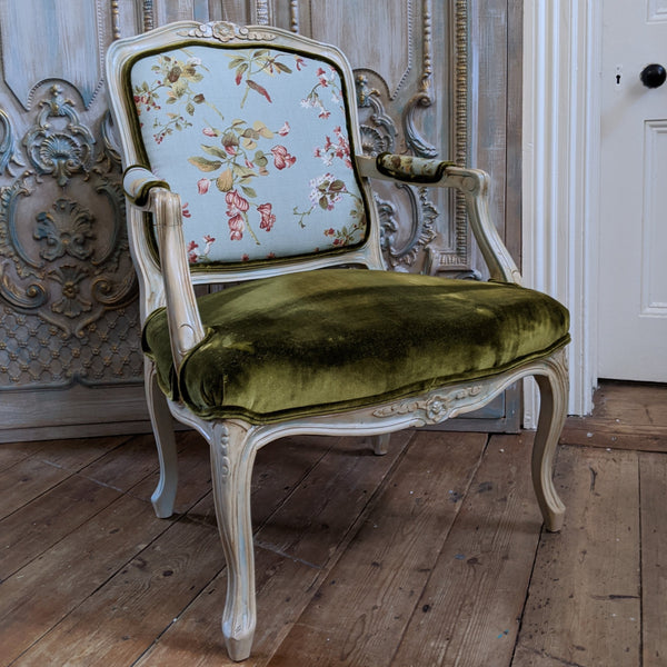 FRENCH LOUIS Cream Shabby Chic Painted Carved Floral LINEN Fireside Library Arm Chair