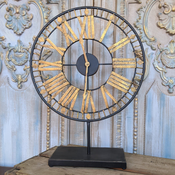 New SKELETON Gold Silver Shabby Chic French Vintage RETRO Metal Mantel CLOCK