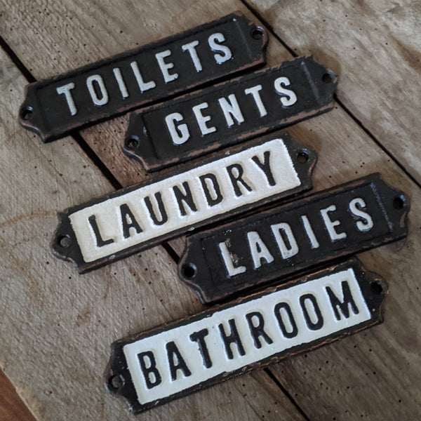 New Vintage RETRO TOILET Laundry GENTS Ladies BATH Room Metal Cast Iron Signs