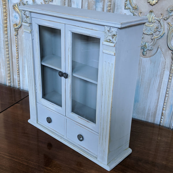 New VINTAGE French GREY Shabby Chic Glass Bath Kitchen Wall Display Cabinet Cupboard Unit