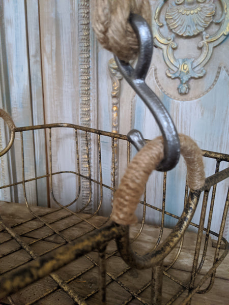 NEW French Vintage Shabby Chic Metal GOLD Hanging ROPE Storage Display Basket