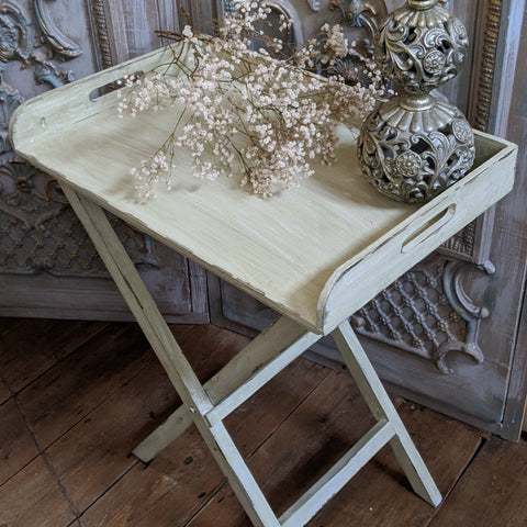 New CREAM Green Vintage Shabby Chic French FOLDING Garden Serving Butlers TRAY Table
