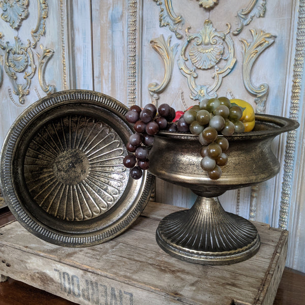 New Vintage Shabby Chic Pale Gold URN Metal Planter Pot Fruit BOWL Flower Table Centrepiece