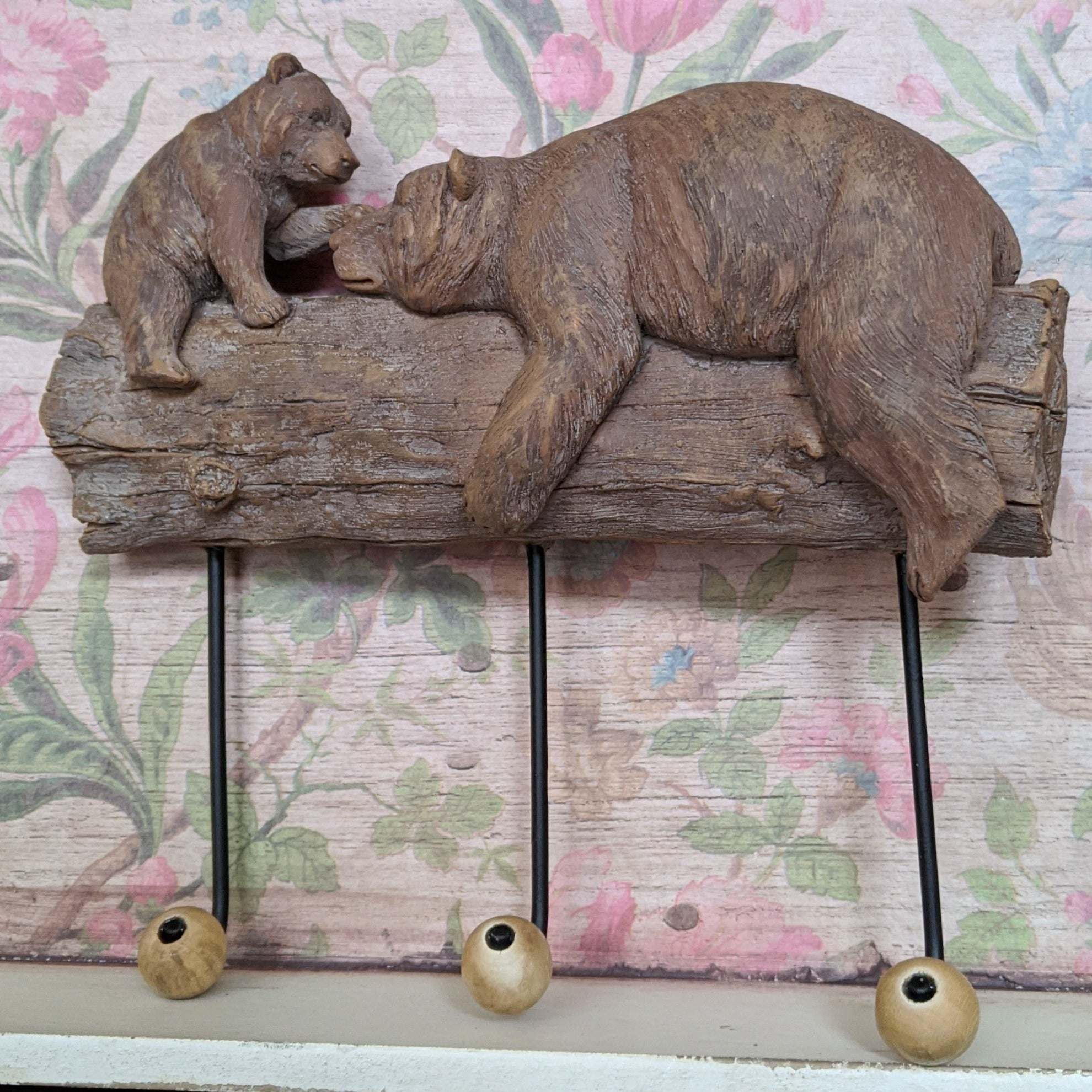 New Mother & Baby BEAR Shabby Chic Rustic Wall Door 3 Coat HOOKS