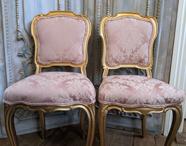 Antique FRENCH Louis Shabby Chic GOLD & Dusky Pink Carved Hall Boudoir Parlour Dining Chair