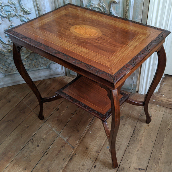 Antique Edwardian INLAID Walnut Wood Occasional Side Lamp Table
