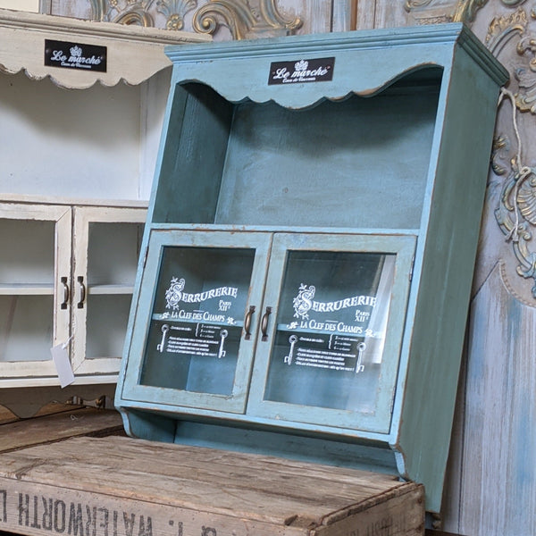 New Vintage French Blue Shabby Chic Cupboard Glass Shelf Cabinet Bath Kitchen