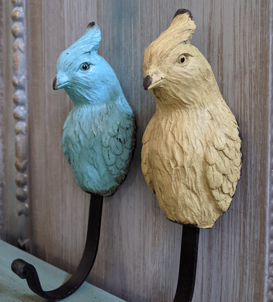 New PARROT French Vintage Shabby Chic Rustic Wall Single Coat Towel Hat Bird HOOK