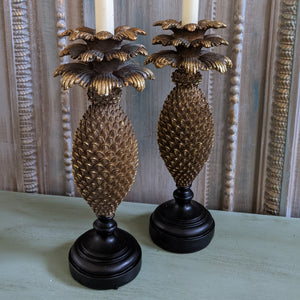 New Vintage French Style Tall Shabby Chic GOLD PINEAPPLE Candlestick Candle Holder