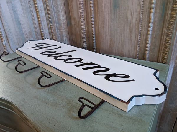 NEW Large Set of 4 WELCOME Wall HOOKS Vintage Shabby Chic RUSTIC White Coat Hat Rack