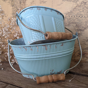 NEW French Vintage Shabby Chic Set of 2 Planter Metal Baskets Pots Buckets Bin Pail