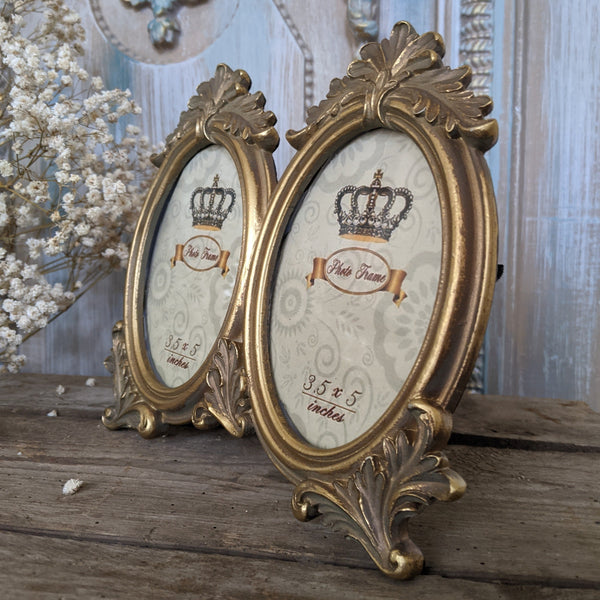 "New 3.5x5"" Vintage Shabby Chic French Style Ornate Double Gold Picture PHOTO Frame"