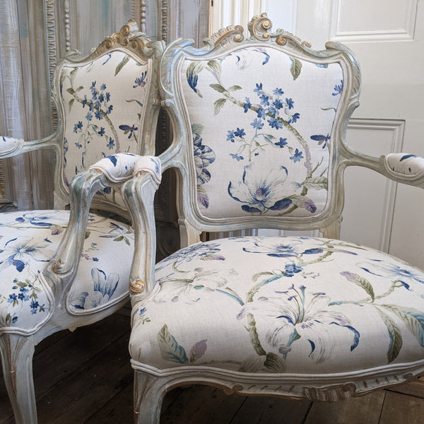Antique FRENCH LOUIS Shabby Chic Painted Grey Carved Floral LINEN Hall Boudoir Chair