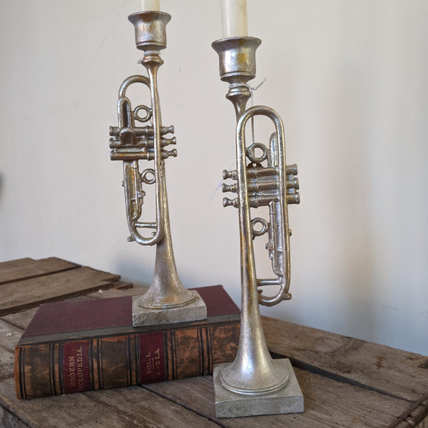 New Vintage French Style Tall Shabby Chic Silver TRUMPET Candlestick Candle Holder