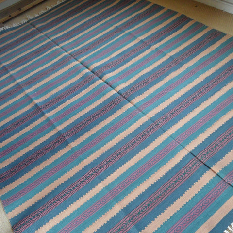New 180x245cm Blue INDIAN KILIM KELIM 100% COTTON Aztec Design HAND WOVEN Carpet Rug Runner or Throw