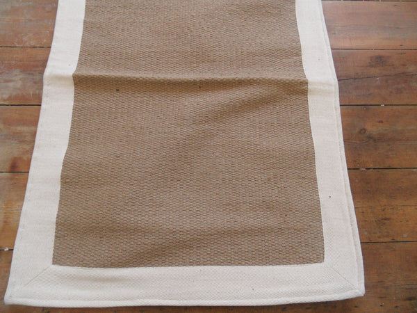 New 70x200cm INDIAN Cream Natural  JUTE & Cotton HAND WOVEN Carpet Rug Runner