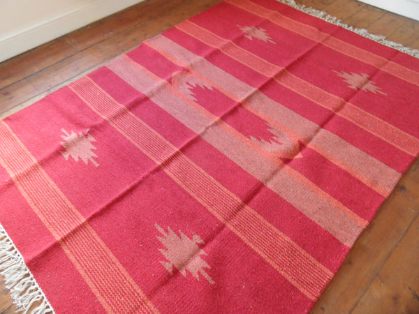 New 180x245cm INDIAN Red KILIM KELIM 100% COTTON Aztec Design HAND WOVEN Carpet Rug Runner