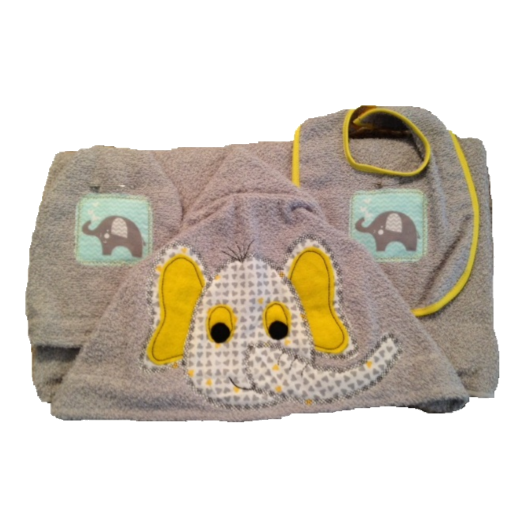 Elephant Towel, Bib and Bath Mitt Set