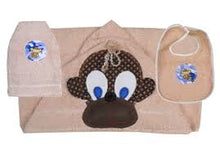 Load image into Gallery viewer, Monkey Towel, Bib and Bath Mitt Set