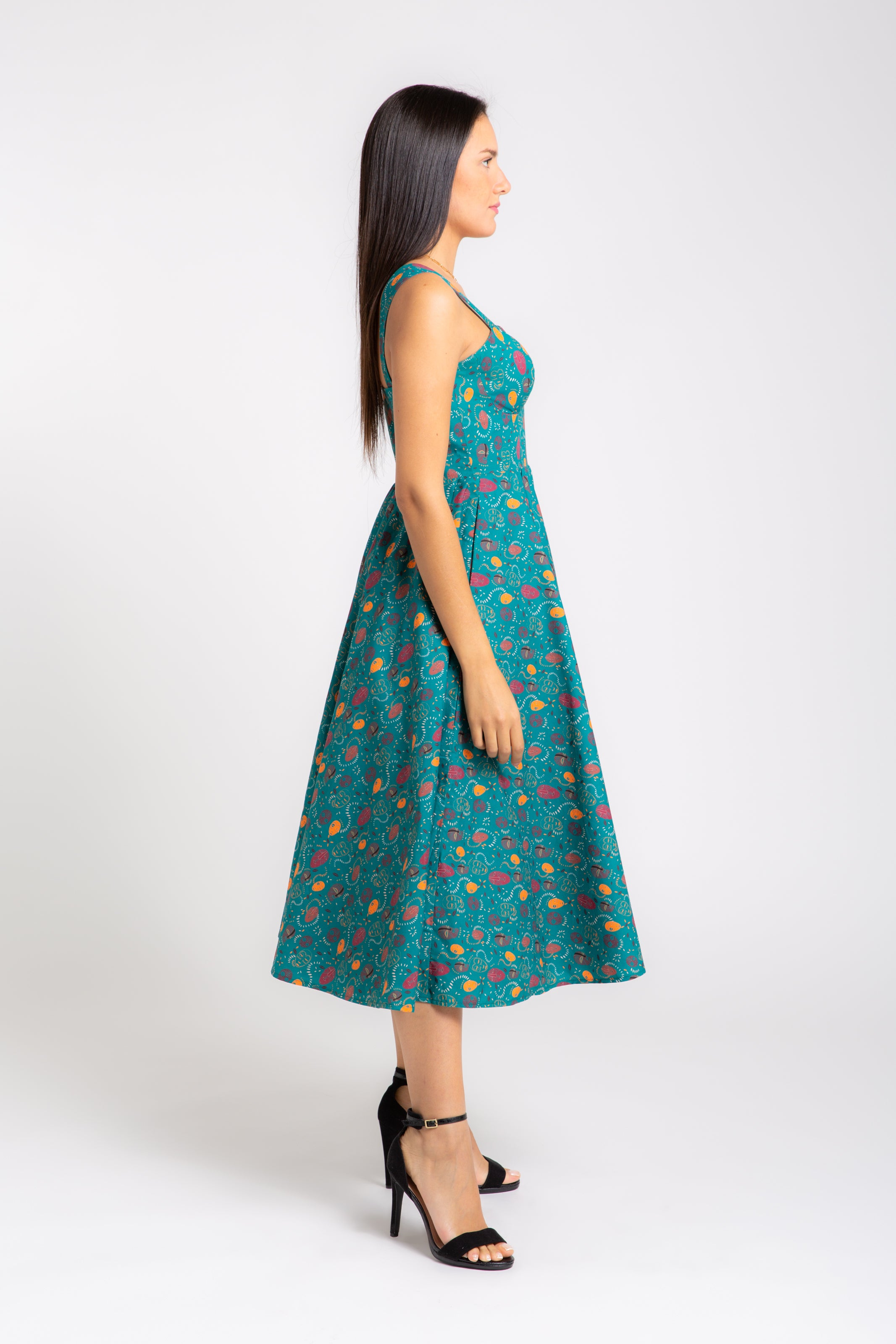 MAKEDA  Printed Cotton Midi Dress