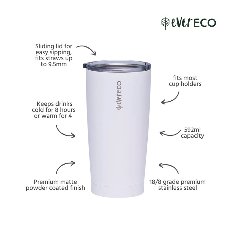 Ever Eco Insulated Tumbler - 592ML White - Being Co.