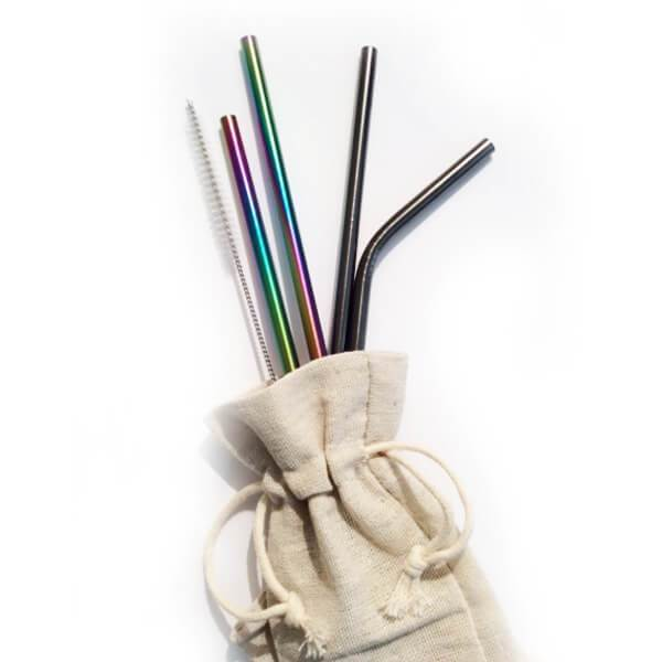 Rainbow Straw Set with Free Eco Cloth Bag. - Being Co.