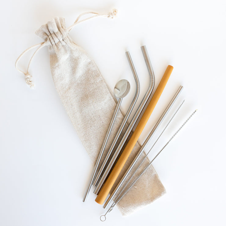 Silver Straw Set with Free Eco Cloth Bag. - Being Co.