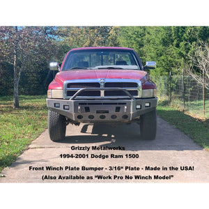 "1994-2001 Dodge Ram 1500 Front Winch Plate Bumper-INCLUDES FREIGHT-See Details-(Raw Metal or Option Powder Coat) WELDED USA METAL! NOT CHINA ""BOLT TOGETHER"" SECTIONS"