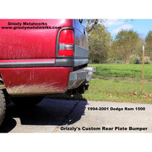 "Load image into Gallery viewer, 1994-2001 Dodge Ram 1500 Rear Plate Bumper (Option-""Step Up Plate Feature"")-  WELDED USA METAL! NOT CHINA ""BOLT TOGETHER SECTIONS"