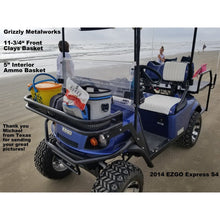 "Load image into Gallery viewer, CUSTOM FRONT CLAYS BASKETS & RACKS- Extra Heavy Duty; Standard 11-3/4"" (Contact us for Large 14"" Size - Baskets & Racks Pricing) Work with Fold Down Windshield! Premium 13 Ga Expanded Sheet Metal Sides/Base! NOT Mesh!-Golf Cart Front Clays Basket-Grizzly Metalworks-EZGO TXT (through 2013 years only)-Raw Metal-11-3/4"" Rack (Open)-Grizzly Metalworks"