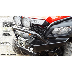 "Honda Pioneer 500 CUSTOM USA FRONT WINCH PLATE BUMPER INCLUDES PreRunner Hoop; 2 ""D"" Ring Mounts & Welded Light Tab for Light Bar or Off Road Light Install-Price Includes Shipping-FedEx Ground-Lower 48 States"