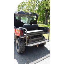 Load image into Gallery viewer, Honda Pioneer 1000-3 REAR WELDED FLIP SEAT ASSEMBLY Includes Heat Shield - New Black Seat Cushion Set - 13 Ga Expanded Sheet Metal - Flat/Smooth or 14 Ga Solid- Custom Options Available