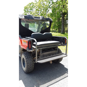 Honda Pioneer 1000-3 REAR WELDED FLIP SEAT ASSEMBLY Includes Heat Shield - New Black Seat Cushion Set - 13 Ga Expanded Sheet Metal - Flat/Smooth or 14 Ga Solid- Custom Options Available