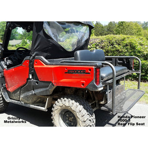 Honda Pioneer 1000-3 Rear Welded Flip Seat Assembly - With Custom Options Available-Rear Flip Seat-Grizzly Metalworks-Pioneer 1000-3-Grizzly Metalworks
