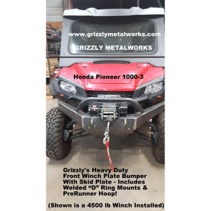 "Honda Pioneer 1000-3 FRONT WINCH PLATE BUMPER & SKID PLATE W/""D"" RING MOUNTS,  PRE-RUNNER HOOP, WORKS WITH UP TO A 4500 LB WINCH!"