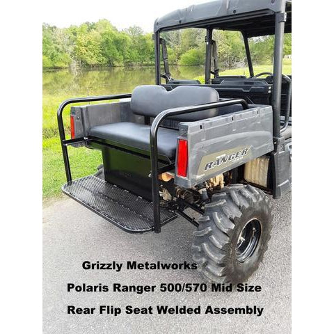 POLARIS RANGER 2 & 4 PASSENGER MID SIZE 500 & 570 Rear Flip Seat Welded Assembly-Rear Flip Seat-Grizzly Metalworks-Polaris Ranger 500-Raw Metal-Grizzly Metalworks