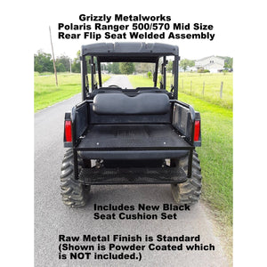 Polaris Ranger 2 & 4 Passenger MID SIZE 500 & 570 REAR FLIP SEAT WELDED ASSEMBLY W/Options - 13 GA Expanded OR 14 GA Solid Sheet Metal-Both Heavy Duty