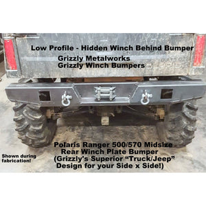 "Polaris Ranger 500/570 Midsize REAR WINCH PLATE BUMPER With Light Cut Outs & ""D"" Ring Mounts! Heavy Duty!"