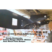 "Load image into Gallery viewer, Polaris Ranger 500/570 Midsize REAR WINCH PLATE BUMPER With Light Cut Outs & ""D"" Ring Mounts! Heavy Duty!"