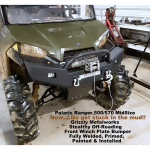 "Polaris Ranger 500/570 Midsize FRONT WINCH PLATE BUMPER Brush Guard with Skid Plate W/Light Cut outs & ""D"" Ring Mounts"