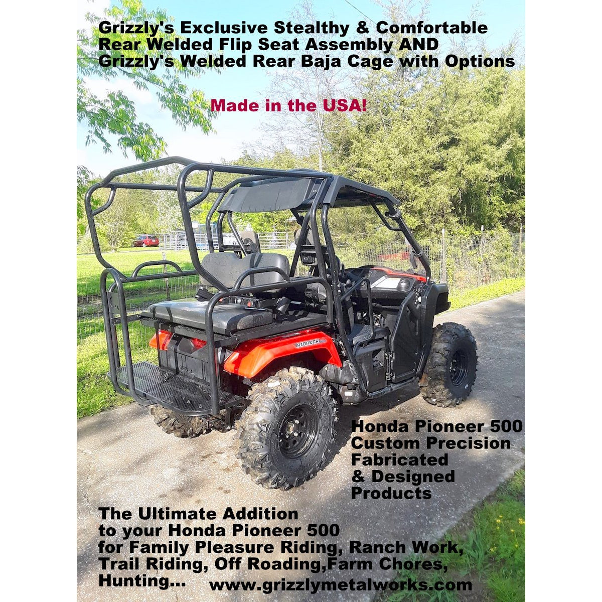 Honda Pioneer 500 Rear Welded Flip Seat Assembly with Welded Baja Cage-Rear Flip Seat-Grizzly Metalworks-Pioneer 500-Grizzly Metalworks